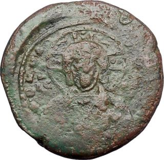 Jesus Christ Class A2 Anonymous Ancient 1025ad Byzantine Follis Coin I47722 photo