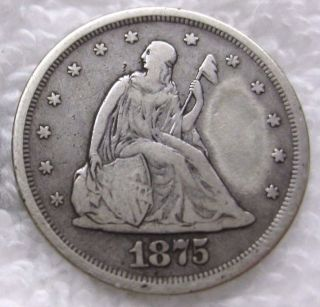 1875 S Twenty Cents Fine Details C28 photo
