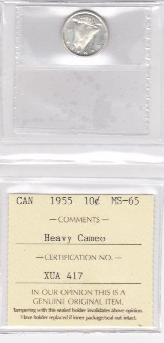 1955 10 Cent Iccs Graded Ms 65 Heavy Cameo photo