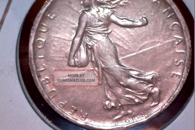 1918 Silver French 2 Francs - Au Coin Detail Europe photo