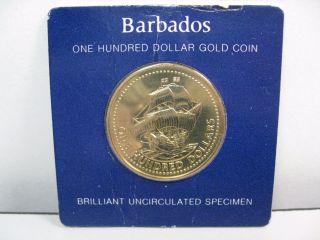 1975 Barbados 350th Anniv Gold Bu $100 One Hundred Dollar Coin.  Agw.  0998 Tr.  2 photo