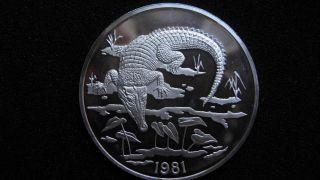 1981 Jamaica $10 Crocodile Silver Proof Coin Rare photo