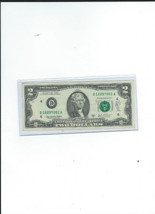 Ink Error $2 Two Dollar Banknote (12 - 27) photo