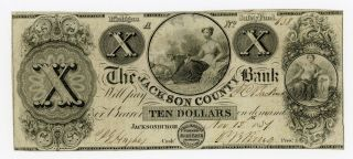 1837 $10 The Jackson County Bank - Jacksonburgh,  Michigan Note photo