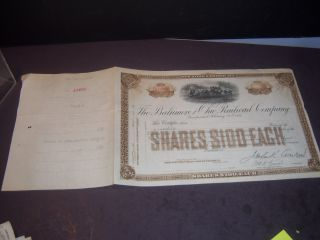 1890 Baltimore And Ohio Rail Road Co Stock Certificate Shares $100 Each R401 Pz photo