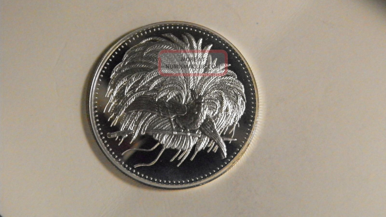 1994 Papua Guinea 5 Kina Bird Of Paradise Silver Proof Coin