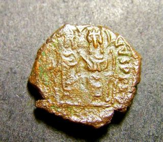 Justin Ii & Empress Sophia,  Christian Cross In Thessalonica,  Byzantine Coin photo