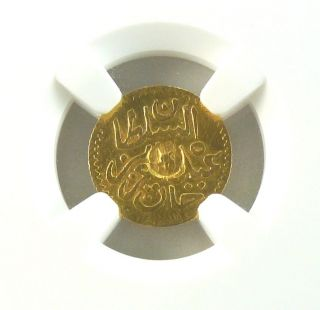 Tn41 Tunisia Ottoman Ah1289 Gold 5 Piastre With C/m Km - 170 Ngc photo