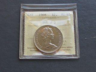 Canada 1968 Nickel Dollar - Iccs Graded Ms - 65 (dhl 2) photo