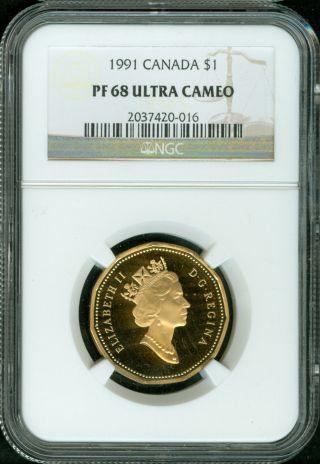 1991 Canada Dollar Ngc Proof Pf68 photo