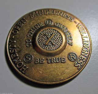 Vintage Bronze Medallion Aa 10 Years H.  O.  W.  To Thine Own Self.  Anniversary Coin photo