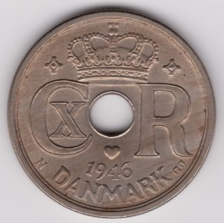 Denmark - 1946 25 Ore Au Km 823.  2 Danish Coin photo