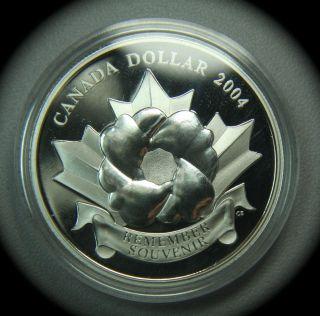 2004 Silver Canada Proof Poppy Dollar In Plastic Capsule photo