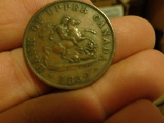 1852 Canadian Half Penny Token photo