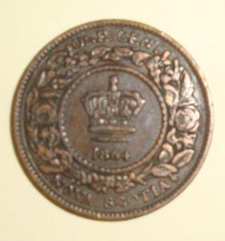 1864 Canada Nova Scotia 1 Cent Bronze Extremely Fine photo
