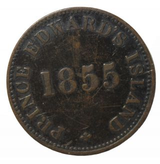 1855 Canada Prince Edward Island George Davies 1/2 Penny Token Edward ' S Variety photo