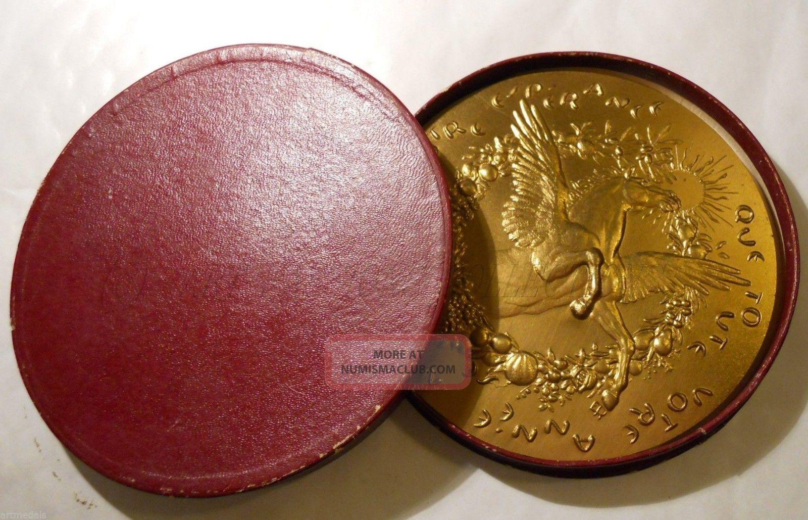 1974 Huge 100mm Best Wishes Gilt Modern Art Medal Pegasus Horse Exonumia photo
