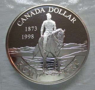 1998 Canada 125th Anniversary Of The Rcmp Proof Silver Dollar Coin photo