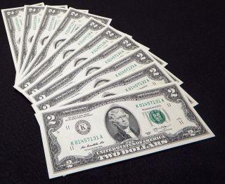 10 Consecutive Uncirculated 2013 Dallas $2 Two Dollar Bills photo