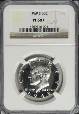 1969 S Proof Kennedy Half Dollar Ngc Pf68 Star photo