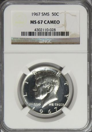 1967 Sms Kennedy Half Dollar Ngc Ms 67 Cameo - - W/ photo