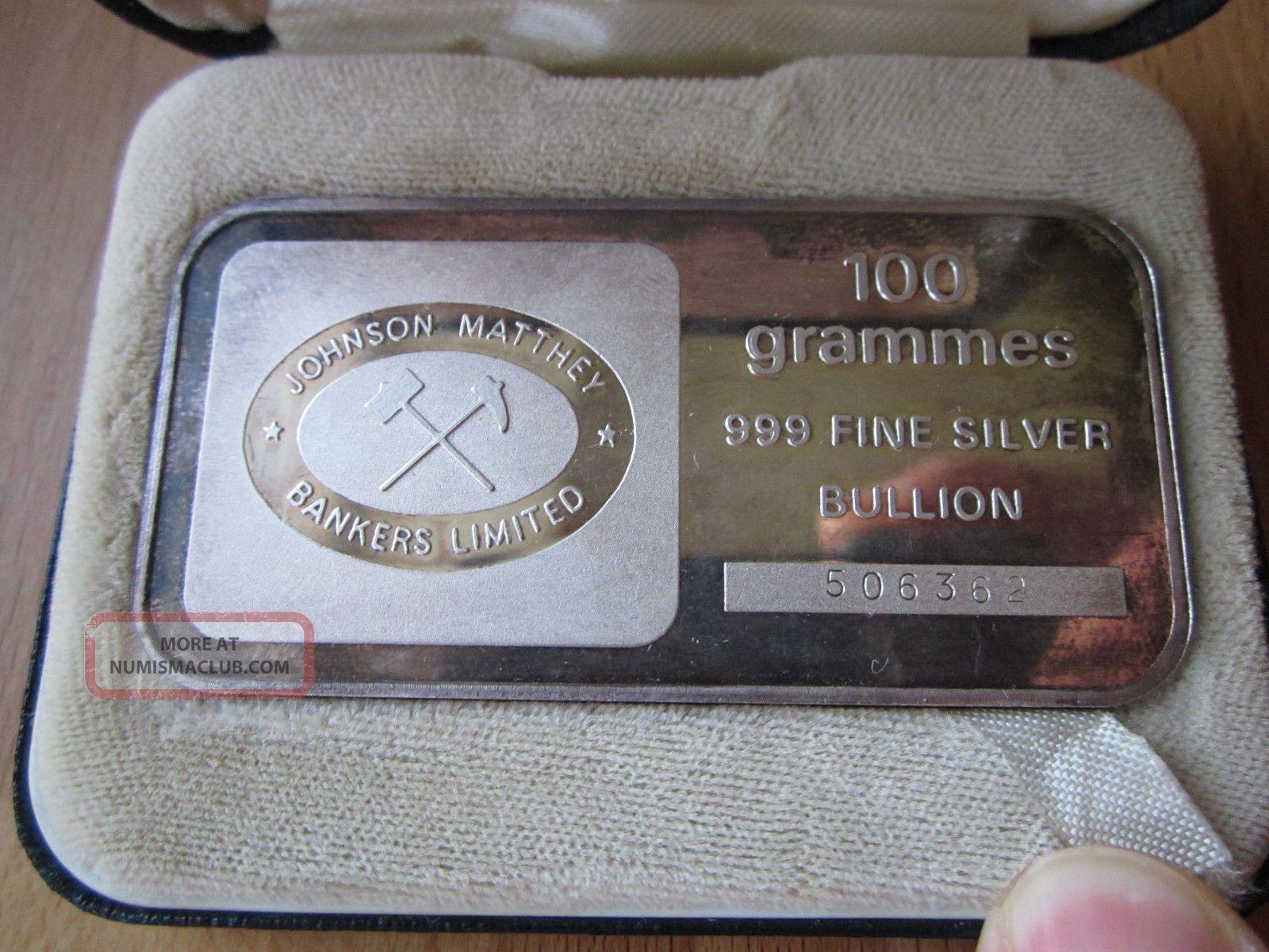 Rare Johnson Matthey Bankers Ltd 100g 100 Gram Silver