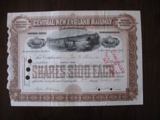 Cne Central England Railway Cap[ital Stock Certificate 127 1899 photo