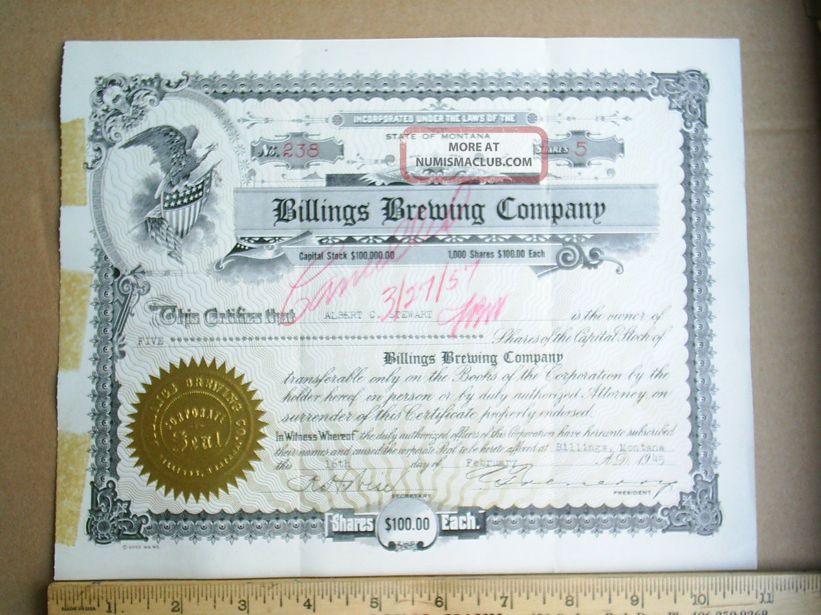 Vintage 1945 Billings Brewing Co.  Stock Certificate (yellowstone,  Montana,  Beer) Stocks & Bonds, Scripophily photo