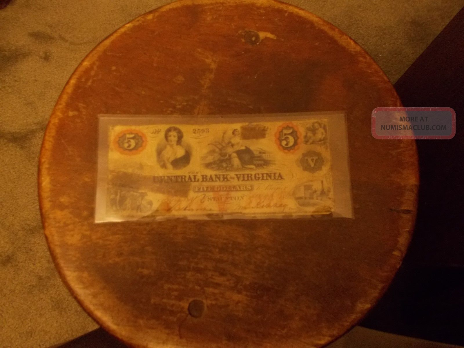 Central Bank Of Virginia Five Dollar Bill 1860 Stocks & Bonds, Scripophily photo