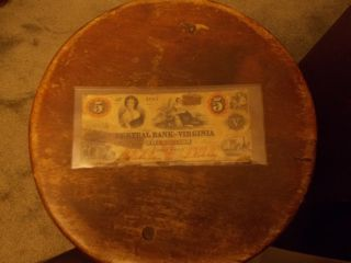 Central Bank Of Virginia Five Dollar Bill 1860 photo