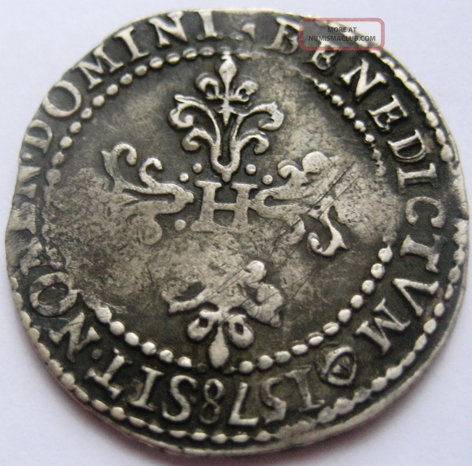 France Medieval Henry Iii Demi Franc 1578 B Rouen Rare Argent Silver Very Fine Europe photo