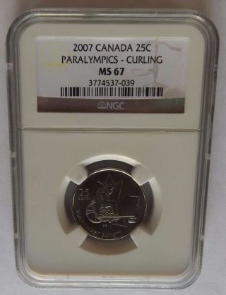 2007 Canada 2010 Paralympics - Curling Ngc Ms67 Olympic Quarter Rare photo