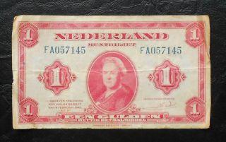 Netherlands 1 Gulden 1943 Nederland Muntbiljet Een Gulden photo