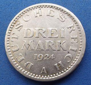 1924 A Germany Weimar 3 Mark - Km 43 - Grade - Scarce Silver Coin photo