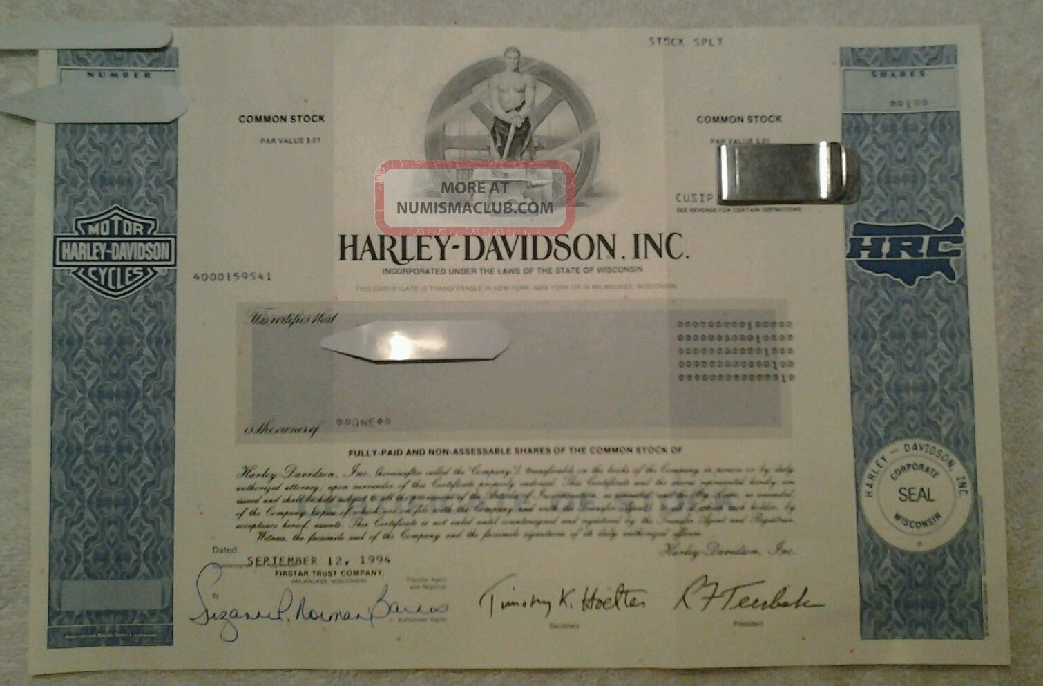 Harley Davidson Sept 1994 Common Stock Certificate - Collectors Item Stocks & Bonds, Scripophily photo