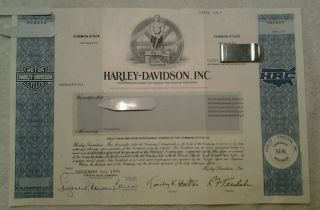Harley Davidson Sept 1994 Common Stock Certificate - Collectors Item photo