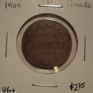 Canada Edward Vii 1909 Large Cent - Vg, photo