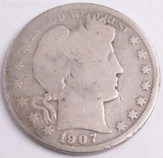 1907 O Orleans Silver Barber Half Dollar Us Coin photo