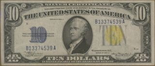 1934a $10 Blue Us North Africa Silver Certificate