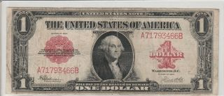 1923 $1 United States Note - - Red Seal,  Legal Tender,  Large Size Note,  Circulated photo