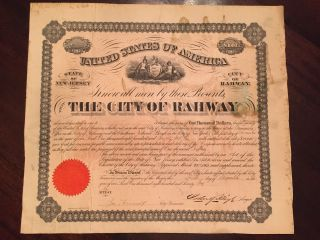 Rare 1876 Civil War/reconstruction Era City Bond - Jersey - $1000 - Signed photo