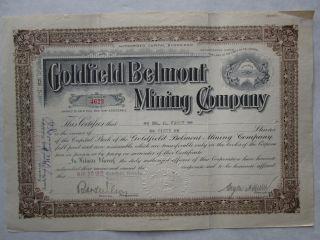 Goldfield Belmont Mining Company 1904 Delaware Corporation Mines In Nevada photo