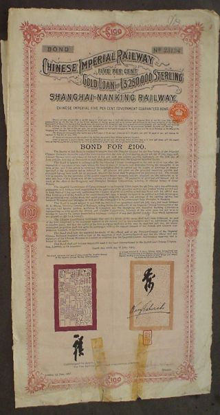 Chinese Imperial Railway Gold Loan Shanghai Nangking 1907 Uncancelled,  Coupons photo