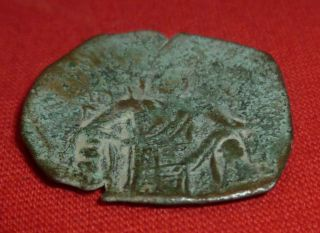 Byzantine / Trachy Ancient Bronze Cup Skifat Coin Circa 1100 Ad - 1923 - photo