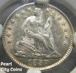 1857 Seated Liberty Half Dime Ngc Au 55 photo