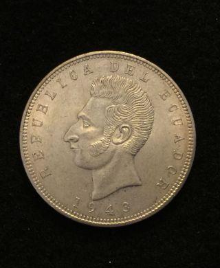 1943 Ecuador Cinco 5 Sucres.  72 Silver Coin World Coin Currency photo