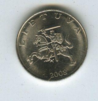 Lithuania 2008 Uncirculated 1 Litas Coin photo
