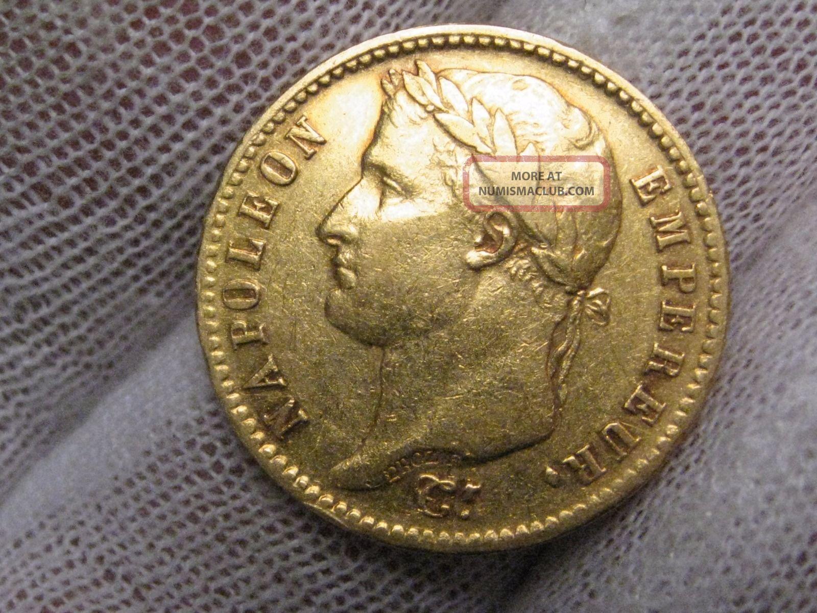 1808 A Gold 20 Franc Coin.  France.  Napoleon Bonaparte.  Agw.  1867 Troy Oz. Europe photo