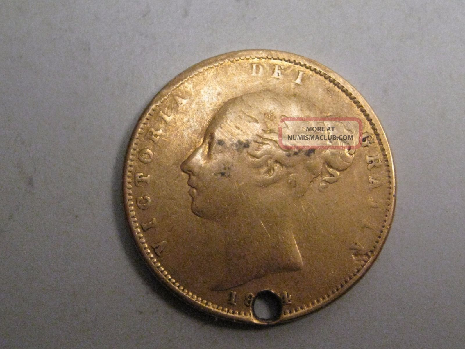 18x4 (die 66) Gold Half Sovereign.  Great Britain.  Young Head Victoria.  Hole UK (Great Britain) photo