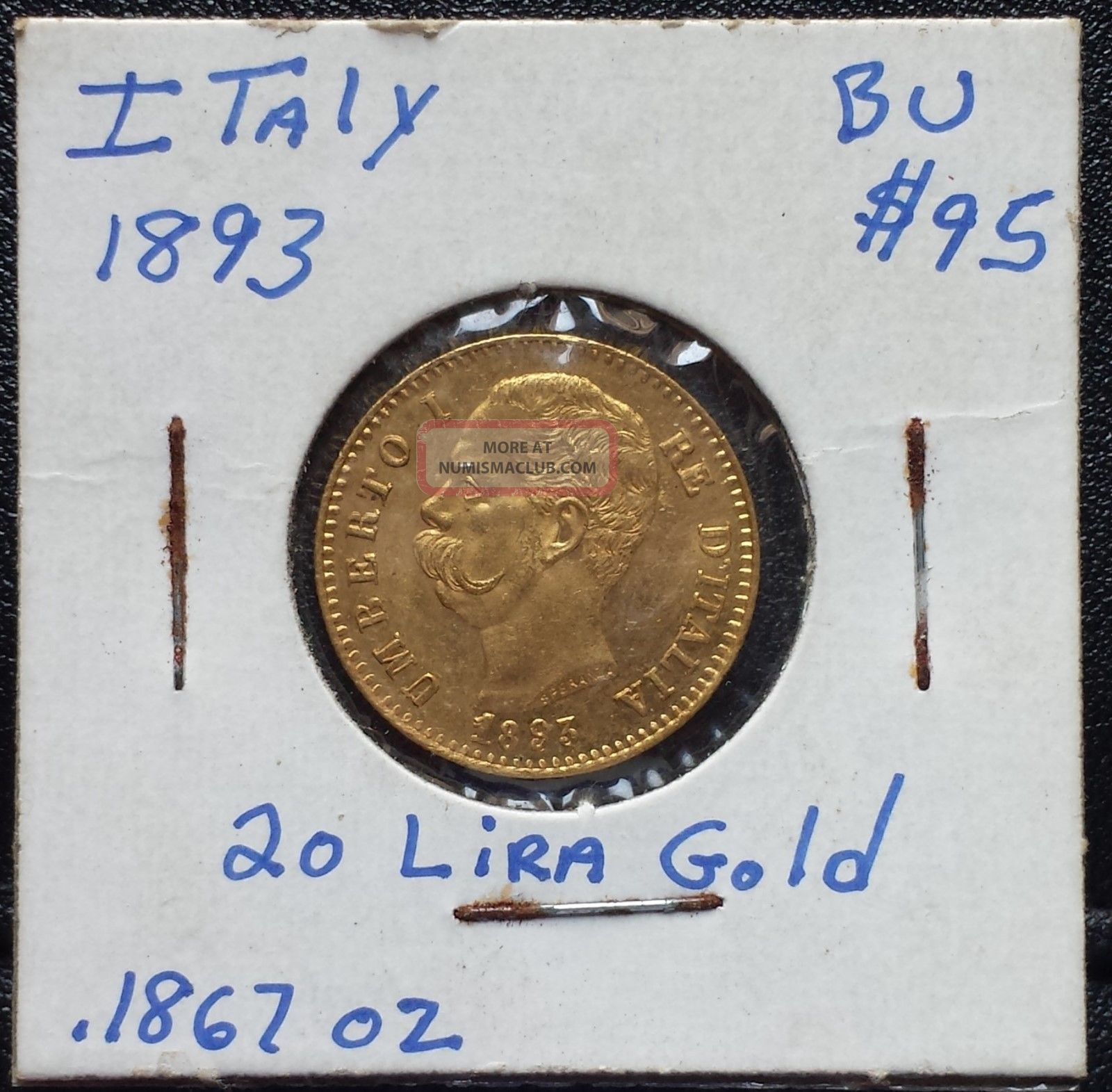 Italy 1893 20 Lire Gold King Of Italy Umberto The First Bu Uncirculated Italy, San Marino, Vatican photo